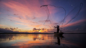 Fisherman of Bangpra Lake Royalty Free Stock Image