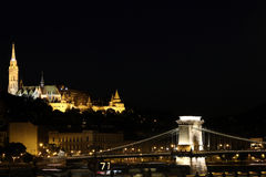 Fisherman bastion and chain bridge Budapest by night Stock Image