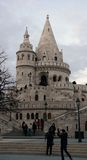 Fisherman` bastion. Main tower of Fisherman`s bastion on Buda castle hill in Budapest, Hungary Stock Images