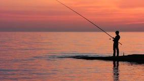 Fisherman on the Beach stock video