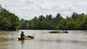 Fisherman. Ben Tre. Mekong delta region. Vietnam Stock Photos