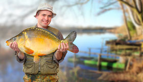 The fisherman with big fish. royalty free stock photo