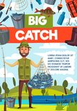 Fisherman with big fish catch and rod banner. Big catch fish banner for fishing sport, outdoor activity design. Fisherman with rod, fish net and boat on river or Stock Image