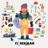 Fisherman with big fish in hand. fishery icon set.  Royalty Free Stock Photos