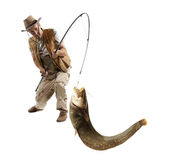 Fisherman with big river catfish Stock Images