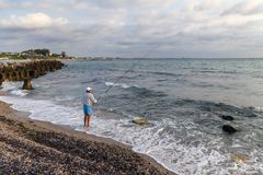 Fisherman on Black Sea Royalty Free Stock Images