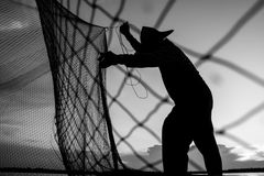 Fisherman Black and White Royalty Free Stock Photo