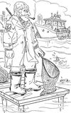 Fisherman. Black and white illustration of the old fisherman stock illustration