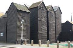 Fisherman black wooden huts at Hastings, England Stock Image