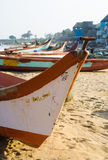 Fisherman boat. With eye symbol on the beach Royalty Free Stock Photography