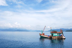 Fisherman boat. Floated in the sea Royalty Free Stock Photo