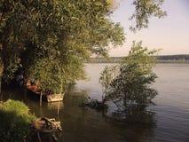 Fisherman boat. Boat on river Danubie royalty free stock photo