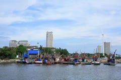 Fisherman of boat. Fisherman boat cloud sky thailand Royalty Free Stock Photos