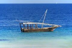 Fisherman Boat. ZANZIBAR-TANZANIA OCTOBER 21:Fisherman Boat used for snorkeling, at Nungwi Village on October 21 2011. Zanzibar Island, Tanzania. Nungwi is Royalty Free Stock Images