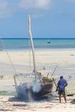 Fisherman Boat. ZANZIBAR-TANZANIA OCTOBER 21:Fisherman Boat used for snorkeling, at Nungwi Village on October 21 2011. Zanzibar Island, Tanzania. Nungwi is Royalty Free Stock Photo