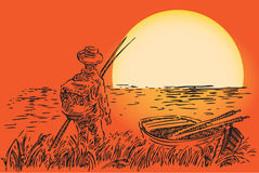 Fisherman with a boat. The fisherman with a boat against the setting sun. Vector illustration Stock Photography