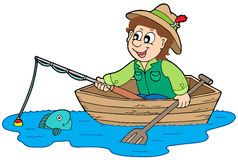 Fisherman in boat royalty free illustration