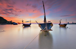 Fisherman Boat at Ban Phe bay Rayong. Many Boats at Rayong Beach stock images