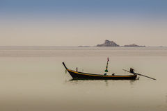 Fisherman boat and the Beautiful seascape view of Naiyang beach, the wonderful beach nearby Phuket international. Airport, Province, Thailand royalty free stock photography