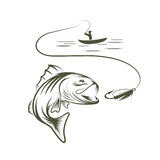 fisherman in a boat and big mouth bass Stock Photography