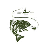 fisherman in a boat and big mouth bass Royalty Free Stock Photos