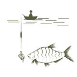 Fisherman on boat and bream  design template Royalty Free Stock Photography