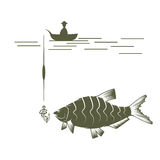 Fisherman on boat and bream vector  template Royalty Free Stock Images