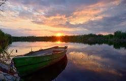 Fisherman boat on Danube Delta Royalty Free Stock Images