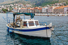 Fisherman Boat Docked at Harbor in Senj Royalty Free Stock Image