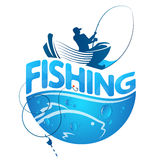 Fisherman in a boat and fish. Design Stock Photo