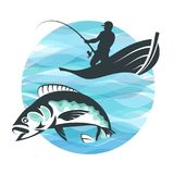 Fisherman in a boat and fish. On a background of blue waves Royalty Free Stock Photography