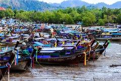Fisherman boat at fish market Royalty Free Stock Images