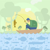 Fisherman in boat and fishes royalty free illustration