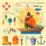 Fisherman in a boat fishinпg royalty free illustration
