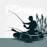 Fisherman in a boat fishing vector illustration