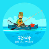 Fisherman in boat with fishing gear. Fishing vector concept. Fisherman in boat with fishing gear and rod with bait on the hook Royalty Free Stock Images