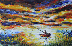 Fisherman in a boat fishing rod, lake, reeds, evening. Original oil painting fisherman in a boat fishing rod, lake, reeds, evening on canvas. Impasto artwork Stock Image