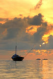 Fisherman boat. Floating on the sea in the morning time Stock Photos