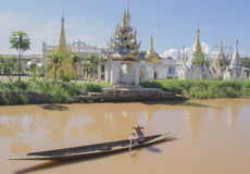 Fisherman in the boat. Floating villages of Inle Lake. Royalty Free Stock Photos