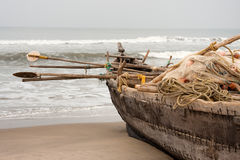 Fisherman boat full with gear at the beach Stock Photo