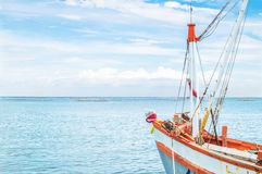 Fisherman boat head. Ing to the sea in the summer season stock photography