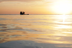 Fisherman boat at Mabul Island Sabah in the evening Royalty Free Stock Images