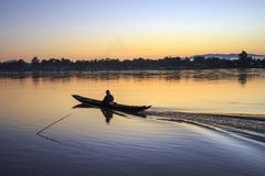 Fisherman boat on Mekong river , Thailand. Royalty Free Stock Images