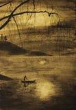 Fisherman in boat Royalty Free Stock Image