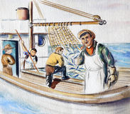 Fisherman on the boat Stock Image