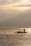 The fisherman boat in the sea in the morning near Rinjani volcan Stock Photography