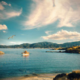 Fisherman boat by the shore in Sithonia, Halkidiki, Greece Royalty Free Stock Image
