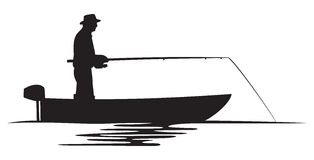 Fisherman in a boat silhouette. Fisherman silhouette, fishing design, fishermen in a boat fishing Stock Image