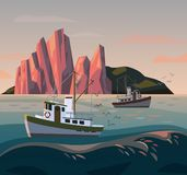 Fisherman ship or boat at sunset. Fishing stock illustration