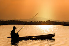 Fisherman on the boat Royalty Free Stock Photography